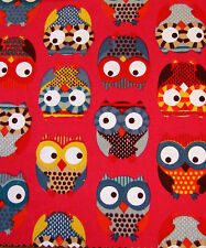 Red Owl Canvas Fabric Medium Weight 100% Cotton 140cm Wide Sold Per M FREE P+P