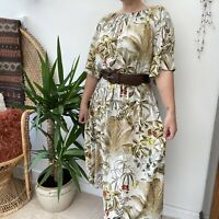 H&M Midi Length Botanical Palm Leaf Print Dress Tropical Floaty Sz M 12 14