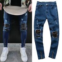 Men's Ripped Biker Frayed Jeans Destroyed Skinny Patched Denim Zip Leg Pants
