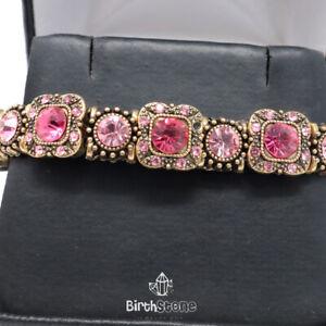 15.2Ct Turkish Vintage Pink Sapphire Clear Topaz Tennis Bracelet Jewelry Gift