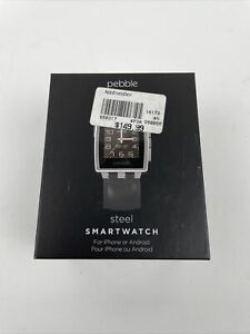 Pebble Steel Smartwatch 401SLR with Black Leather Band - Brand New