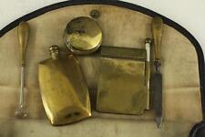 Vintage CROSS London Ladies Brass Makeup Compact Vanity Belt Wallet Set