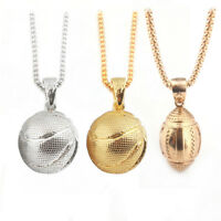 Stainless Steel Necklace 3D Basketball Football Pendant Chain Men Hiphop Jewelry