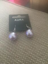 Purple Large Hanging Earrings Aura Glass Pearl Light