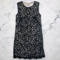Women's Ann Taylor LOFT Size 4 Black Shift Dress Lace Overlay sleeveless Scoop