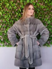 REAL MINK FUR COAT JACKET  SILVER GREY MEXA NERZMANTEL FOX SABLE CHINCHILLA 256