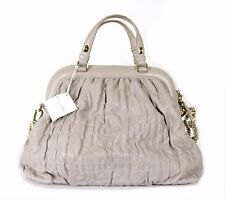 DIOR $3,300 Light Gray Cannage Quilted Lambskin DELIDIOR Zip Tote Bag