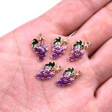 10X Purple Grape Fruit Enamel Charm Pendant 18*9mm For DIY Earrings/Bracelet
