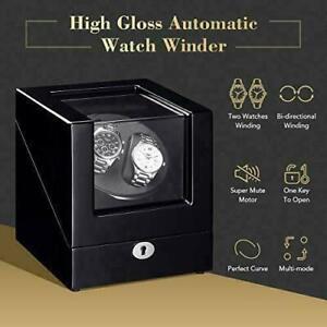 Double Watch Winder Box Watch Automatic Winder Luxury Rotation Display Case UK