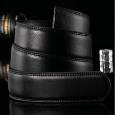 Black Luxury Men PU Leather Belt Wristband Strap Without Buckle Automatic K1L1