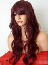 Wine Red Wig natural long wavy party FULL WOMEN LADIES FASHION HAIR WIG D16