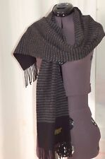 Valentini Italy Men's Wool Scarf 100 % Wool Black Gray