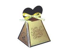 10 Gold Wedding Bomboniere Favour Boxes - Love Hill