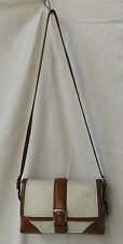 Coach 11196 Off White Whiskey Brown Hampton Leather Buckle Flap Classic satchel