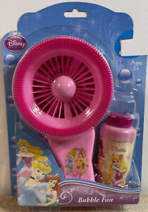 Disney Pink Princess Bubble Fan W/ Bubble Solution & Bubble Tray NIB