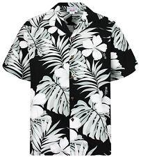 PLA Original Hawaiian Shirt, Hawaiihemd Weiß Graue Palmblätter, Schwarz