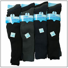 1,3,6 Pairs Mens Gents Long Hose Ribbed Grip Cotton Knee High Socks 6-11