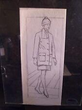 Walking Winter Lady 1946-59 Original Pencil Sketch By C. Schattauer Kelm