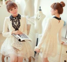 Pretty Kawaii Princess Cute Sweet Dolly Lolita Slim Long Sleeve Lace Dress wht