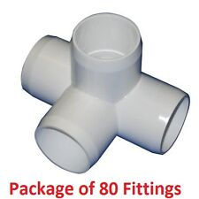 "1-1/4"" Furniture Grade 4-Way Side Outlet Tee PVC Fitting - 80 Pack"