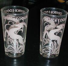 RARE ART DECO COCKTAIL BEVERAGE GLASSES PINK GAZELLE IMPALA DEER QUENCH COOLER