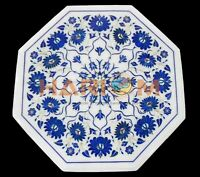 """18"""" White Marble Coffee Table Top Lapis Lazuli Floral Mosaic Inlay Decors W437"""
