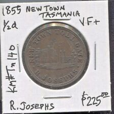 TASMANIA - BEAUTIFUL HISTORICAL R. JOSEPHS HALF PENNY TOKEN, 1855  KM# Tn140