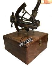 Vintage English Allies Marine SEXTANT Tool Box Wooden - Ship Sea Sextant De