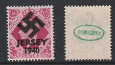 GB Jersey (276) 1940 Swastika Overprint forgey om genuine 8d stamp unmounted