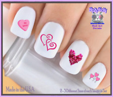 24 Nail Decals #7604 VALENTINES Pink Scroll Heart Roses WaterSlide Nail Transfer