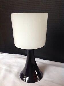 Vintage Mid-Century Modern Murano Black White Alabastro Opaline Glass Goblet
