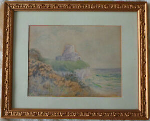 SEASIDE LANDSCAPE WITH RUINS OF A CASTLE. WATERCOLOUR - W.A.S. WAKEFILED.