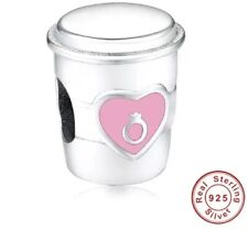 💎🎀 STERLING SILVER 925 & PINK COFFEE CUP CHARM & POUCH - COSTA STARBUCKS FANS