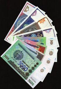 Lot of 8 pcs UZBEKISTAN SUM world asia COLLECTION BANKNOTES UNC UNCIRCULATED