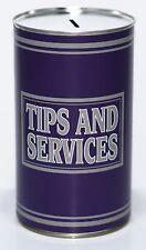 Tips & Service - Large 17.5cm Savings Tin Money Box Jar Fund Holds upto £1000