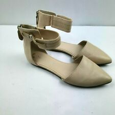 Franco Sarto Women Flats Size 6.5 M Beige Leather Pointed Toe Ankle Strap Zip Up
