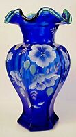 Fenton Glass Cobalt Hex Vase Diamond Jubilee Spruce Crest Bill Fenton 75th QVC