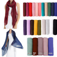 Women's Scarf Plain Solid Color Cotton Maxi Viscose Scarves Shawls Muslim Hijab