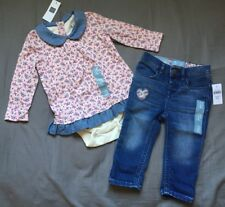 Baby Girl 12-18 Month Baby Gap Pink Floral Double Bodysuit & Skinny Denim Jeans