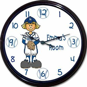"LA Dodgers Baseball Personalized Girl Wall Clock MLB  Dodger Stadium Kershaw 10"""