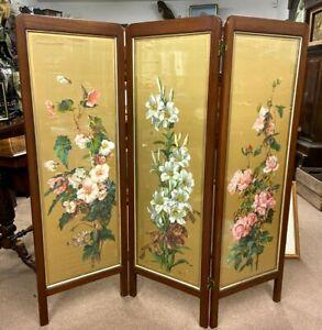 19th Century Mahogany Folding Screen With Painted Silk Panels