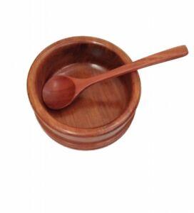 Wooden Bowl Spoon Set Teak Salad Rice Soup Retro Asian Buddha Food Dish Plate