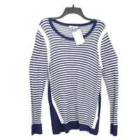 G H Bass & Co Womens Sweater Blue White Stripe Scoop Neck Ribbed Pullover XL New