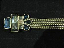 Silpada KRB0006 BLUE STREAK Magnetic Clasp Bracelet Brass & Swarovski Crystal