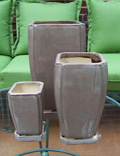 "SET OF 3 BEIGE BROWN 12"" 9"" 6"" RECTANGULAR CERAMIC PLANTERS WITH SAUCERS"