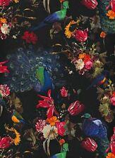 Erismann Peacocks Flowers Floral Wallpaper Black Red Blue Paste The Wall Vinyl