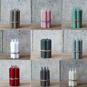 7 x Short Dinner Candles Pale Pink Blue Cream Purple Lilac French Chic Candles