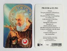 St Saint Pio Relic Prayer Card Laminated - Wallet Size Religious
