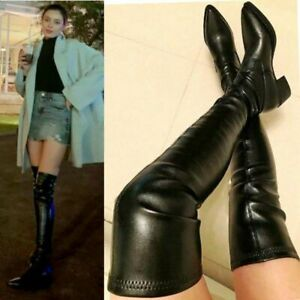 Thigh High Boots Women Over the Knee Stretchy Boots Flat Heel Pointy Toe Oxfords