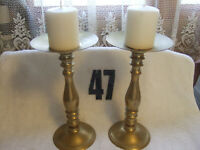 VINTAGE TALL, HEAVY, PAIR OF LARGE BRASS CANDLE HOLDERS NEW CANDLES INCLUDED+++.